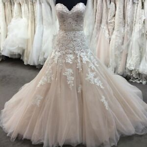 Details about Blush Pink Wedding Dresses Bridal Gowns Mermaid Plus Size 0 4  6 8 10 12 14 16 18