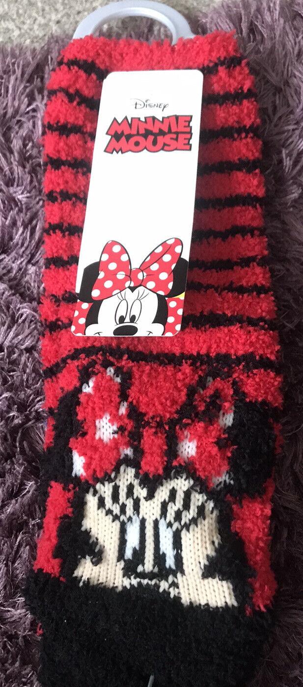 Disney Minnie Mouse Niños Cama Zapatilla Calcetines Edad 3-6 Nuevo Con Etiqueta