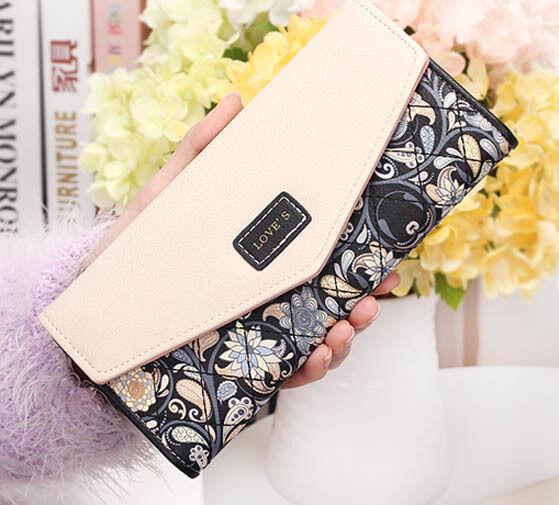 2015 New Fashion Envelope Women Purse Wallet Long Card Holder Mobile Zip Handbag