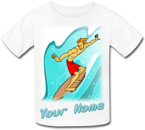 SURFER SURFING PERSONALISED KIDS T-SHIRT GREAT GIFT FOR ANY CHILD /& NAMED TOO