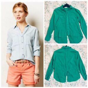 2dc352eb03c Cloth & Stone Anthropologie SPLIT BACK TOP BLOUSE GREEN size small ...