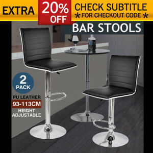 2x PU Leather Swivel Bar stool Kitchen Dining Chair Barstool Gas Lift Adjustable 615517370104