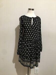 Zara-Black-Beige-Small-Floral-Printed-Tunic-Dress-Size-S