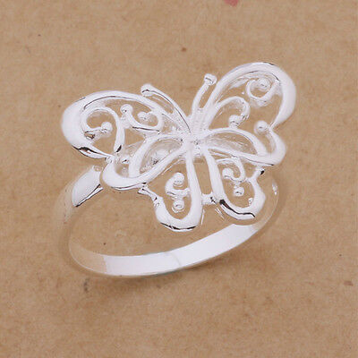 *UK* 925 SILVER PLT FILIGREE BUTTERFLY BAND RING THUMB LADIES DRAGONFLY SUMMER
