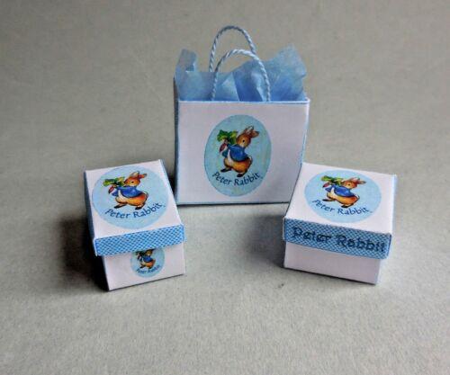 DOLLHOUSE MINIATURE ~  PETER RABBIT SHOPPING BAG /& BOX SET ~ HANDMADE