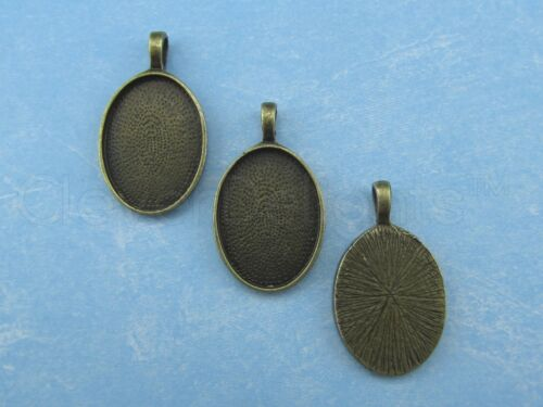 Silver Bronze Copper Black 4 Pack 18x25mm Oval Pendant Trays Mix Pack