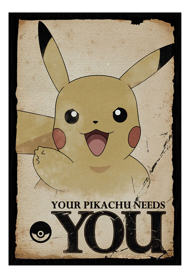 Pokemon Go Pikachu Needs You Framed Cork Pin Notice Board With Pins