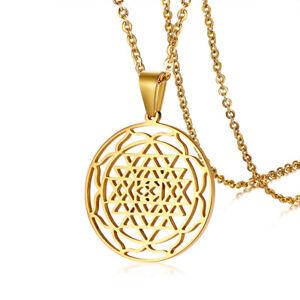 s l300 gold sri yantra chakra triangles pendant necklace chain lucky