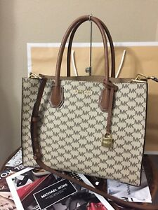 c2677f21860910 Image is loading NWT-Michael-Kors-Signature-Mercer-Large-Convertible-Tote-