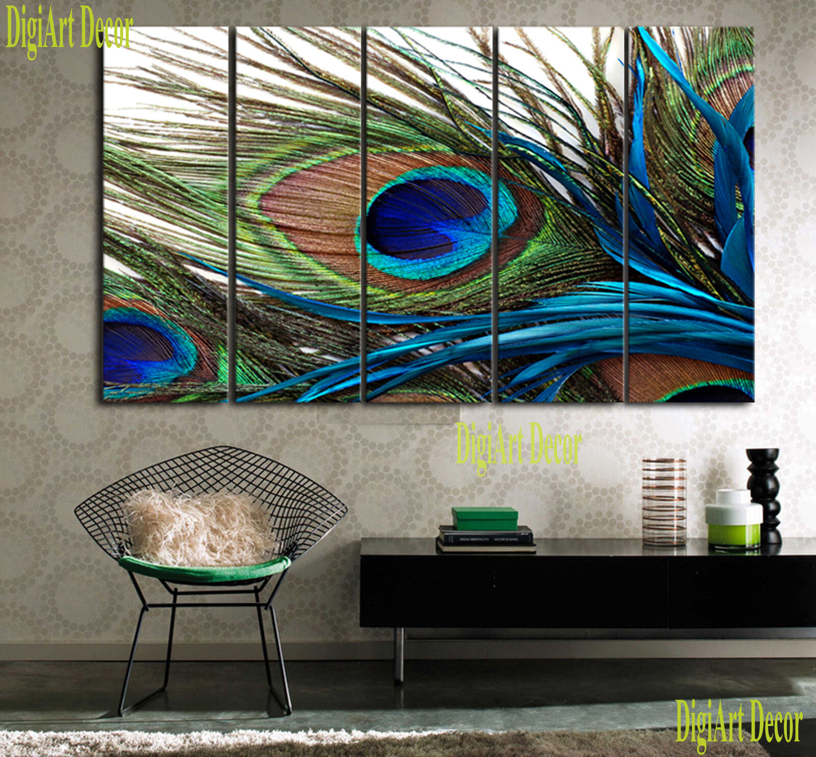 PEACOCK FEATHER 5 panel mounted fiberboard canvas wall art surpassed stretched
