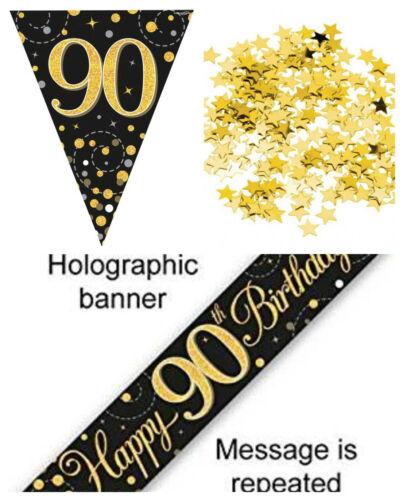 90th Décoration Anniversaire Kit bannière Bunting Confettis BLACKGOLD lui ses Hommes Femmes