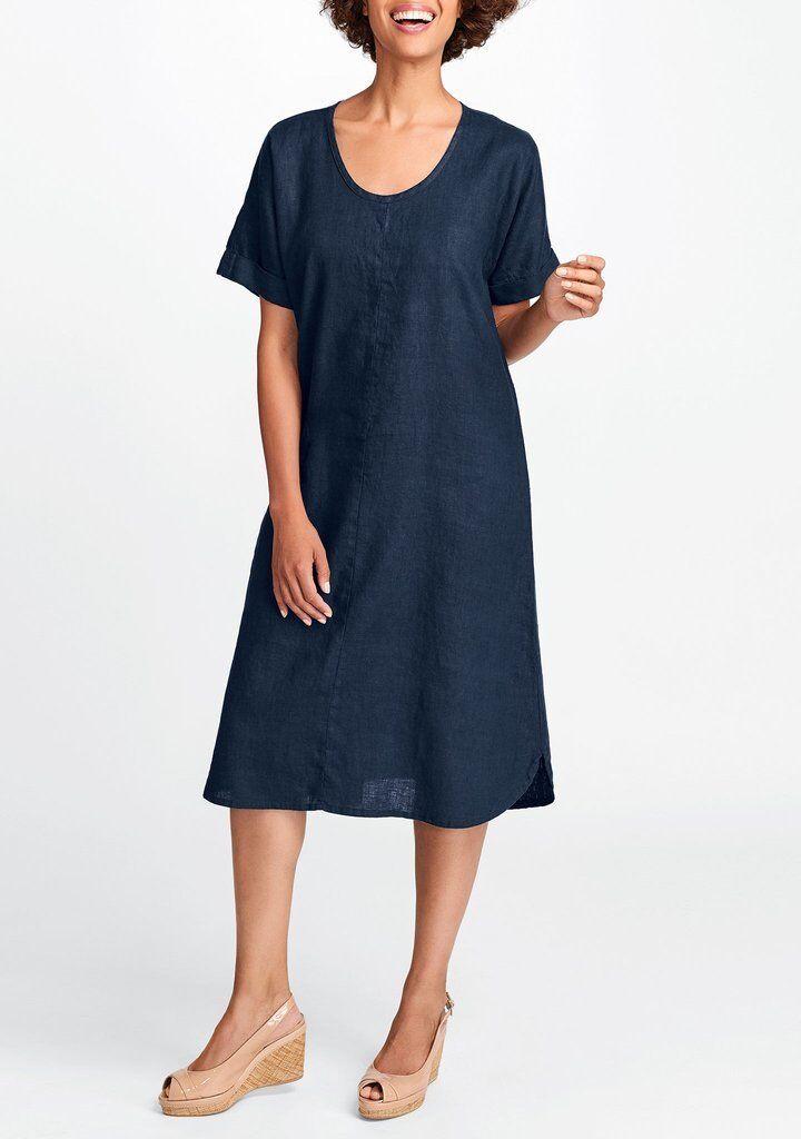 FLAX  Designs  LINEN DRESS    2G  NWT  Sage  Dress    2018 BOLD  Midnight