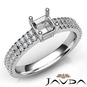 Prong Setting Asscher Diamond Semi Mount Engagement Ring 14k White Gold 0.5Ct