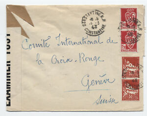 1943 Algeria to Switzerland censored cover 4 stamps [y1764]