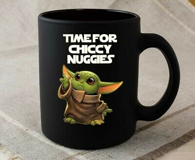 The Green Baby Space Child Mando Mug Chiccy Nuggies Meme Black Ceramic Mug