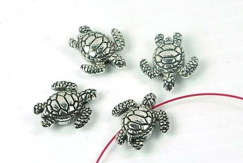 4 Silver Pewter Turtle Beads 18x16mm ~ Lead-Free ~