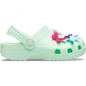 Crocs CLASSIC BUTTERFLY CHARM 206179 Girls Clogs Sandals Neo Mint Green |  eBay
