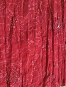 PRINTED EMBROIDERED AND SEQUIN CRINCKLED EFFECT POLYCOTTON FABRIC-SOLD BY METER