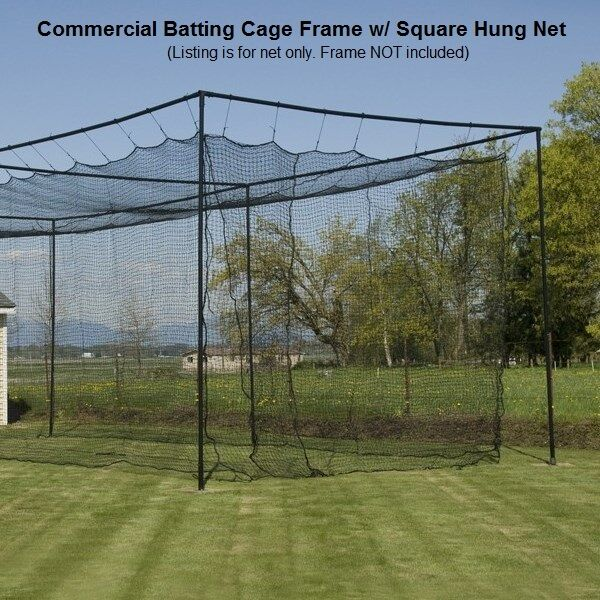 12' x 14' x 70' (60 ply) Commercial Baseball Batting Cage Net w Door