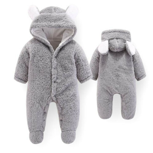 Winter Infant Baby Boy Girl Romper Jacket Hooded Jumpsuit Warm Thick Coat D