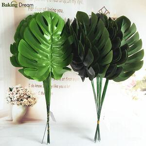 Details about 12Pcs Artificial Plants Fake Plastic Foliage Office Leaf  Garden Bush Wall Decor