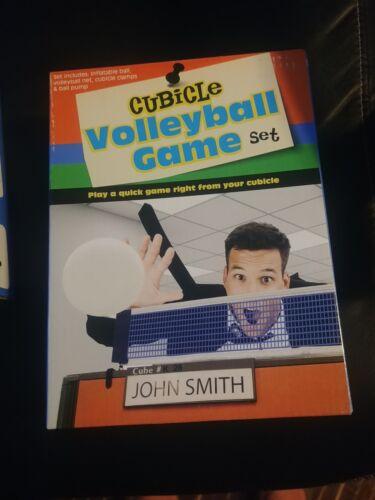 Cubicle Mini Volleyball Game Set Nylon Net Ball Pump Gift Kit Toy Man Boy Office