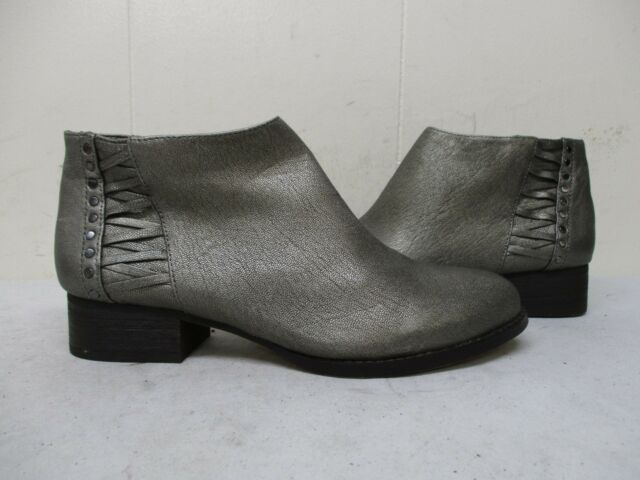 c6a1b1fdf7 Vince Camuto Cateen Pewter Metallic Leather Zip Ankle Boots Womens Size 7.5  M