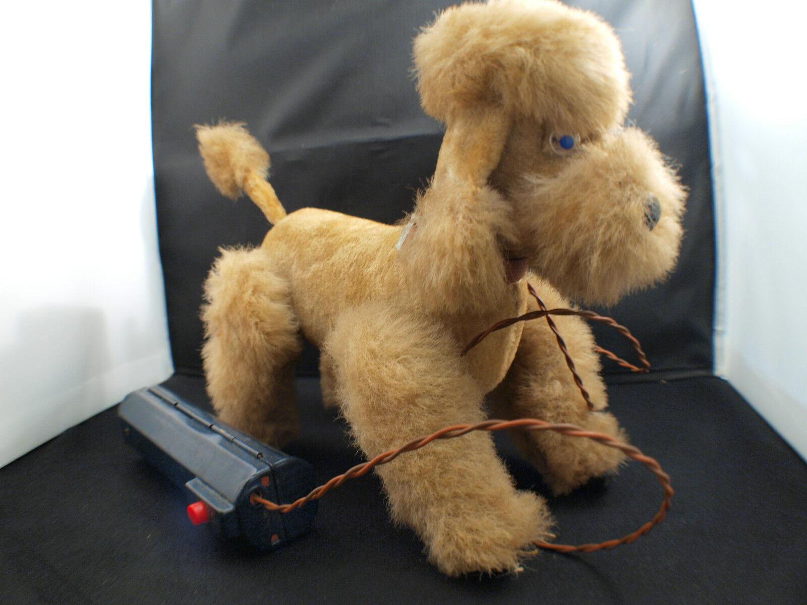 Japón Perro Poodle Dog Batería Motor Pilas Antiguo 20CM
