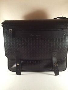 Image is loading SALVATORE-FERRAGAMO-Gancini-Embossed-Black-Leather- Messenger-Bag- 3400d1cd27372