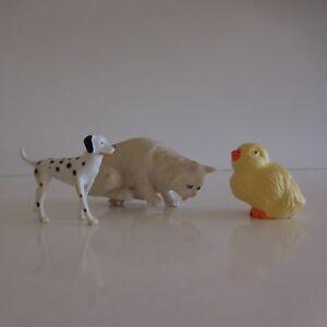 3-Figuras-Animales-Gato-Perro-Pajaro-Pollito-Vintage-Coleccion