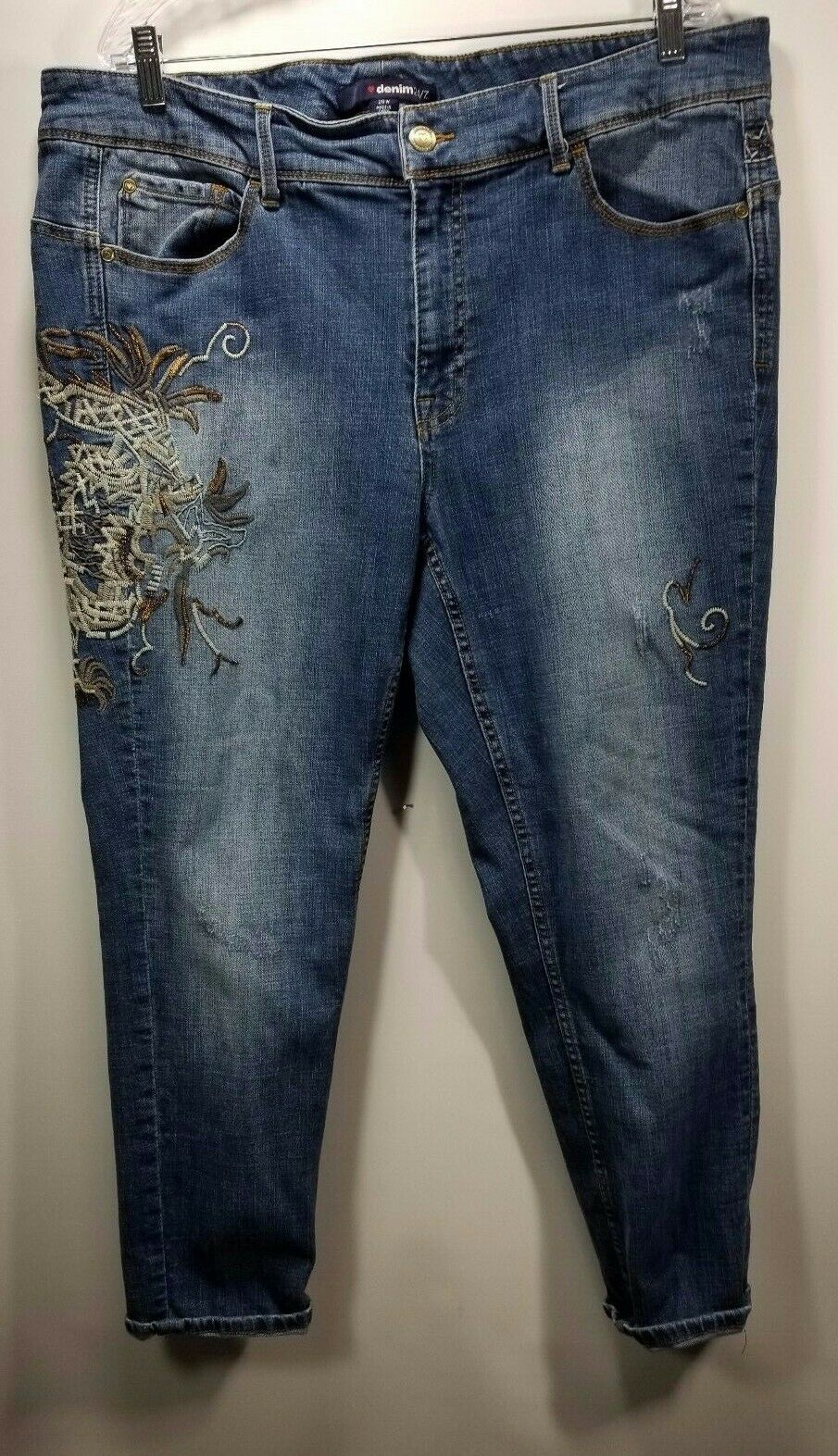 Denim 24 7 Womens Distressed Embroidered Legs & Waist Sz 20 Stretch Skinny Jeans