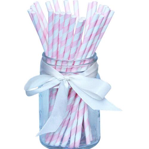 Retro Stripe Paper Drinking Straws Vintage Party Polka Birthday Wedding 25 50pcs