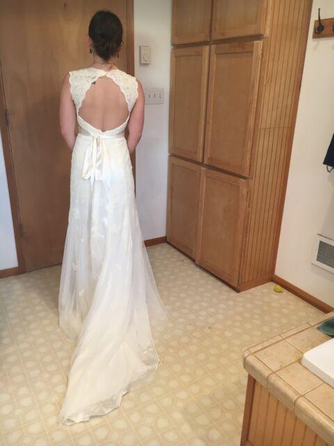 Lace Over Satin Wedding Dress V Neckline A Line Cap Sleeve Size 10 Ivory