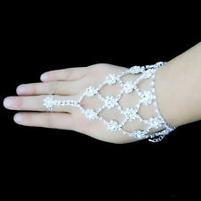 Diamante Slave Hand Chain Rhinestone Bridal Bracelet Ring Silver Crystal Harness