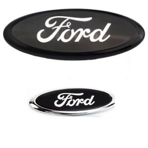 """FORD TRANSIT CUSTOM TOURNEO 9"""" FRONT AND 6"""" REAR BLACK/MIRROR OVAL BADGE EMBLEM"""