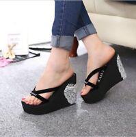 Women wedge high heel platform summer beach travel sandals flip flops shoes size