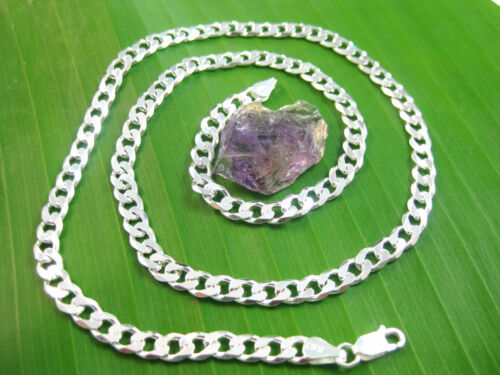 """MADE IN ITALY-SOLID 925 sterling silver 6mm WIDE curb CHAIN Necklace 16/""""-30/"""""""