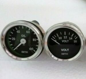 Smiths-Replica-52-mm-2-1-16-034-Volt-Gauge-Oil-pressure-gauge-Mechanical-1-8-034-NPT