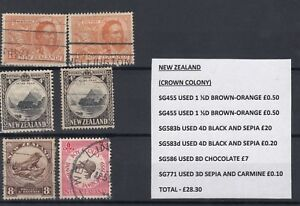 New-Zealand-Collection-of-6-Values-SG583b-VFU-J1609