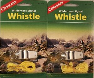 2-PACK-WILDERNESS-SIGNAL-WHISTLE-METAL-WITH-LANYARD-INCLUDES-MORSE-CODE-GUIDE