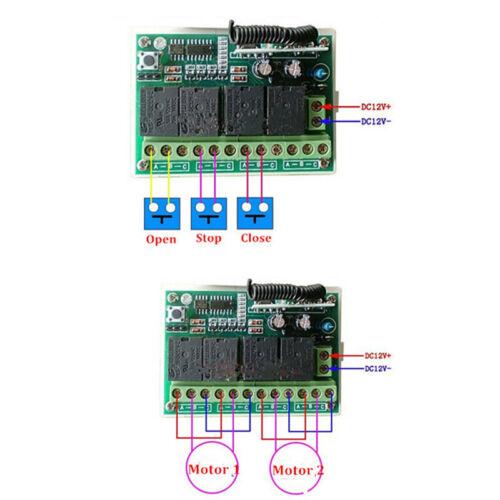 Empfaenger DC 12V 4-Kanal-200M Wireless Funk-Fernbedienung Schalter Sender