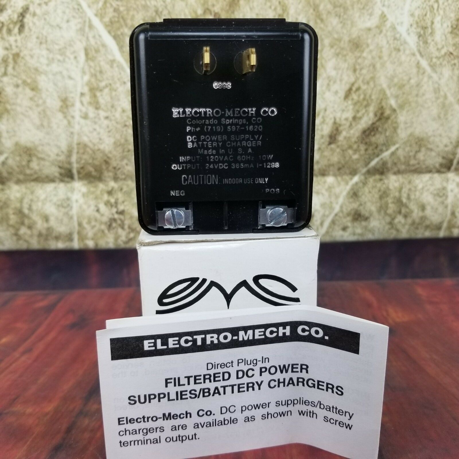 Electro-Mech I-1298 DC Power Supply/Battery Charger Screw Back 24VDC 365ma