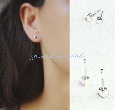 925 Sterling Silver - Cube Geometry Korea Simple Club Stud Mini Earrings Jewelry