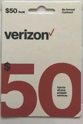 Verizon $50 Prepaid Refill Card mail delivery