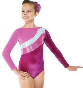 5bbf2b627b37 Pink Velvet Sparkly Foil Girls Gymnastics Leotard Gym Dancewear Ages ...