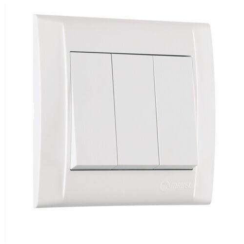 3f VDE 1 Eingang // 3 Ausgänge UP Wippe Defne Dreifachschalter Rahmen