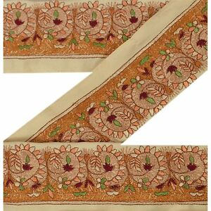 Trims Sanskriti Vintage Sari Border Craft Brown Trim Hand Embroidered Sewing Lace Embellishments & Finishes