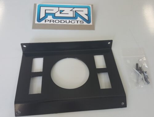 "Polaris RZR In-Dash Stereo Panel Blank Panel with 3/"" round hole 4 switch holes"
