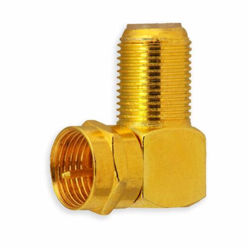 2x SAT F-Stecker 90° Winkelstecker Koaxialkabel F-Buchse auf F-Stecker vergoldet