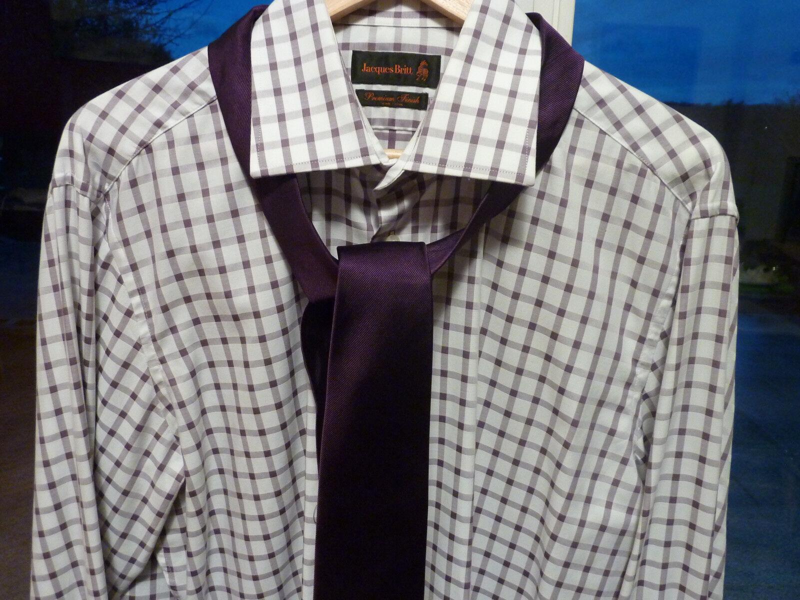Jacques Britt Hemd 42  NEU CustomFit Langarm Umschlagmanschette+Knöpfe+Krawatte